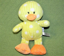 BABIES R US PLUSH RATTLE DUCK BABY YELLOW WHITE POLKA DOTS RIBBED TEXTURE 12""