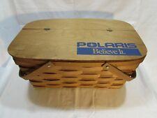 "Vintage Polaris ""Believe It"" Picnic Basket Woven Wood Wicker with Lid"