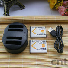2X  Battery + USB Dual charger for Sony Cyber-shot DSC-W800 DSC-W810 DSC-W830