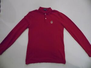 RALPH LAUREN POLO T-SHIRT MEN'S RED SIZE SMALL SLIM FIT POLO LONG SLEEVE SHIRT