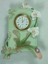 "Green Orchid Design Desk Table Mantel Clock CLK8140 NEW Poly Resin 15cm (6"") H"