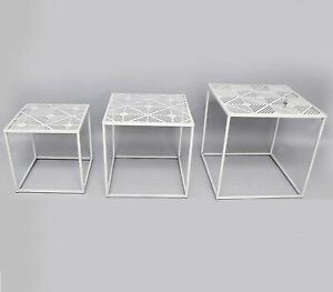 Set of 3 White Square Iron Geo Geometric Design Nesting Tables Home Furniture