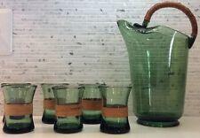 Jacob Bang Kastrup Gron Bar Set Decanter DENMARK Green Glass Danish Modern