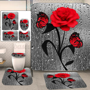 Red Rose & Butterfly Waterproof Bathroom Shower Curtain Toilet Cover Mat Rug Kit