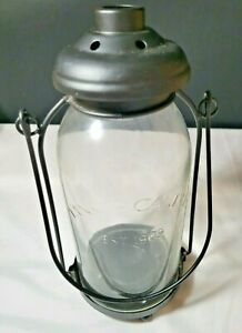 Yankee Candle Black Metal Tea Light Holder Lantern Mason Jar Glass Est 1969 VGC