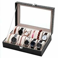 Leather Watch Jewelry Display Storage Holder Case 1-12 Grids Box Organizer e1