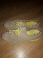 Cole Haan Lunargrand Womens 8 B Shoes Suede Beige/Yellow  soles/laces Oxford