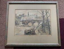 "HERBELOT Franz Watercolor Litho Print,  20"" X 16 1/2"" w/frame matted"