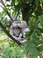 Kissing monkeys in love Stone garden ornament couple statue holding hands