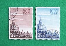 Vatican stamps (1953): full set of 2; used, hinged: Posta Aerea