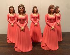 5 Vintage Bridesmaid Pink Coral Dress Cake Topper Cake Decoration Lot #17