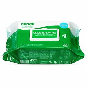 CLINELL WIPES ANTIBACTERIAL WET WIPES KILLS 99.9% OF GERMS 200 WIPES PER PACK