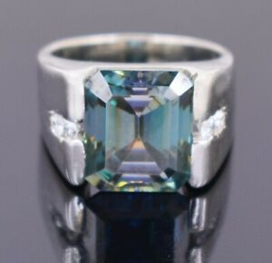 RARE 19 Ct Emerald Cut Blue Diamond Ring With White Diamonds Accents WATCH VIDEO