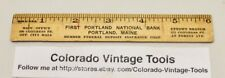 "Vintage 6"" FIRST PORTLAND NATIONAL BANK (Portland, ME.) Wooden Advertising Ruler"