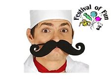 Jumbo False Moustache on Elastic ~Novelty Tash~Joke Facial Hair~Chef~Reusable