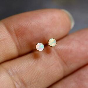 Tiny 3mm Round Faceted Ethiopian Welo Opal Stud Earrings 925 Sterling Silver or
