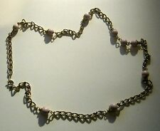 Necklace gorgeous gold tone metal necklace pink bead design approx 58cm long