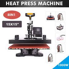 "8 in 1 360° Swing Away Heat Press Machine T-Shirt Mug Plate Presses 15x15"" DIY"