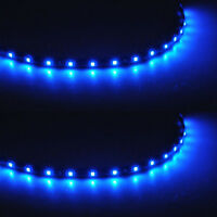 2 X 15 LED 30cm SMD Car Vehicle Flexible Waterproof Strip Light Blue 12V Sales