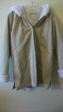 WOMEN'S ST. JOHNS BAY WINTER HOODED COAT, LEATHER WITH FAUX FUR, SIZE MEDIUM