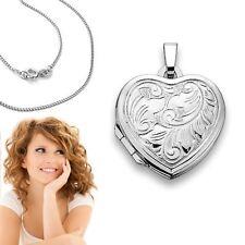 Damen Herz Foto Medaillon Amulett Anhänger mit Kette Silber 925 für 2 Bilder Neu