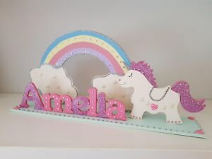 Girls Bedroom Name Sign, UNICORN Decoration, Pink Name, Glitter Personalised