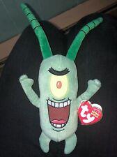 "Rare! Ty Beanie Baby Babies Sheldon J. Plankton Spongebob Squarepants 9"" NEW"