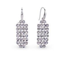 Echt Sterling Silber 925 Ohrringe mit Swarovski Elements Weiß Schwarz Geschenk