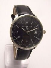 Bergmann 1956 * Rund * Herren Quarz Uhr * 3 ATM * Lederband Schwarz