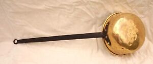 French Kettle Ladle Brass Fire Pan Long Wrought Iron Handle 19th C