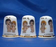 Birchcroft China Thimbles -- Set of Three -- Love is Understanding
