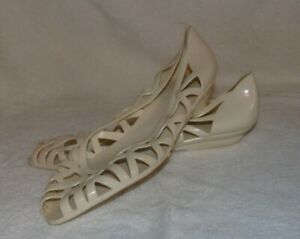 Vintage Jellies Shoes Cream Beige Size 10 80s Cool Womens #9