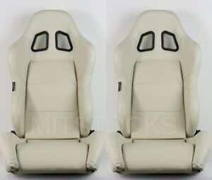 2 X TANAKA BEIGE PVC LEATHER RACING SEATS RECLINABLE + SLIDERS FIT FOR CHEVY A