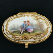 New listing Antique Meissen Porcelain Small Hinged Trinket Box