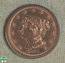 1854 BRAIDED HAIR HALF CENT - CLEANED - UNCIRCULATED DETAILS