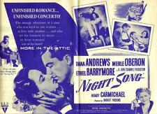 MERLE OBERON DANA ANDREWS NIGHT SONG ORIGINAL RKO U.S. MOVIE HERALD