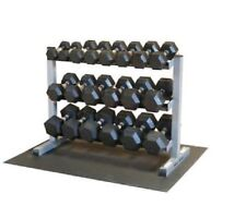 Body-Solid 5-50 Rubber Hex Dumbbell Set & GDR363 Rack and Rubber Mat