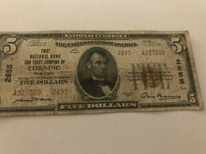 $5 1929 Corning New York NY National Currency Bank Note Charter #2655 Type 2