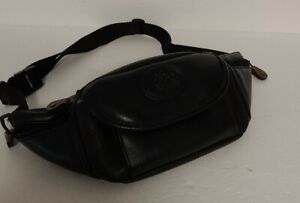 Vintage Auburn Woods Black Simulated Leather Fanny Pack With 4 Pockets EUC