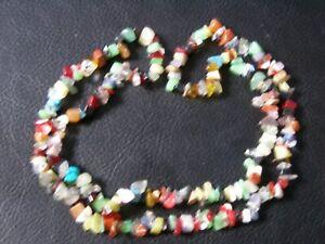 "Stunning Single String Chakra Gemstone Chip Necklace 24"" Gift Reiki Healing Gift"