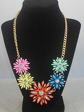 Macy's I.N.C. Goldtone Multi Pastel Enamel Flower Crystal Accent Necklace $34.50