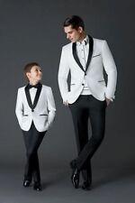 White Black Men Suit Groom Wedding Formal Tuxedos Suits Jacket Pants Custom Made