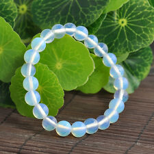 Elastic Bracelet Jewelry Natural 8mm Round Opal Moonstone Gemstone Beads Bangle