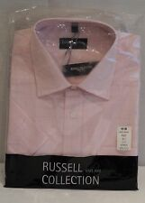 RUSSELL COLLECTION PINK CHECK SHORT SLEEVE 100% COTTON SHIRT REG FIT COLLAR 17½