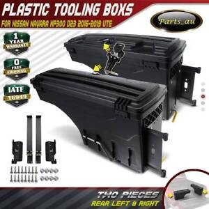 2x Trunk Tray Storage Tool Boxes Rear LH+RH for Nissan Navara NP300 D23 2016 on