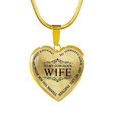 To My Wife My Best Friend Luxury Gold Necklace Birthday Graduation Gift Military