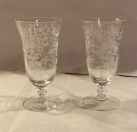 "ELEGANT Set of 2 Tiffin Rose Crystal 5"" JUICE Sherry Cordial GLASSES"