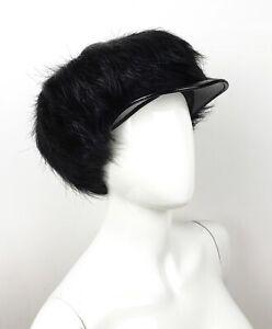 PRADA Black Fur Patent Leather Newsboy Cap HAT Small