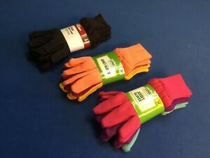 Garden Jersey gloves:  colors peach, purple & yellow 3-pk (M) or brown 3-pk (L)