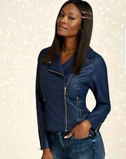 NY & Company Faux-Leather Moto Jacket Grand Sapphire Size L Brand New